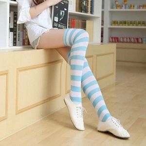 Blue & White Striped Socks Thigh High Socks NWT